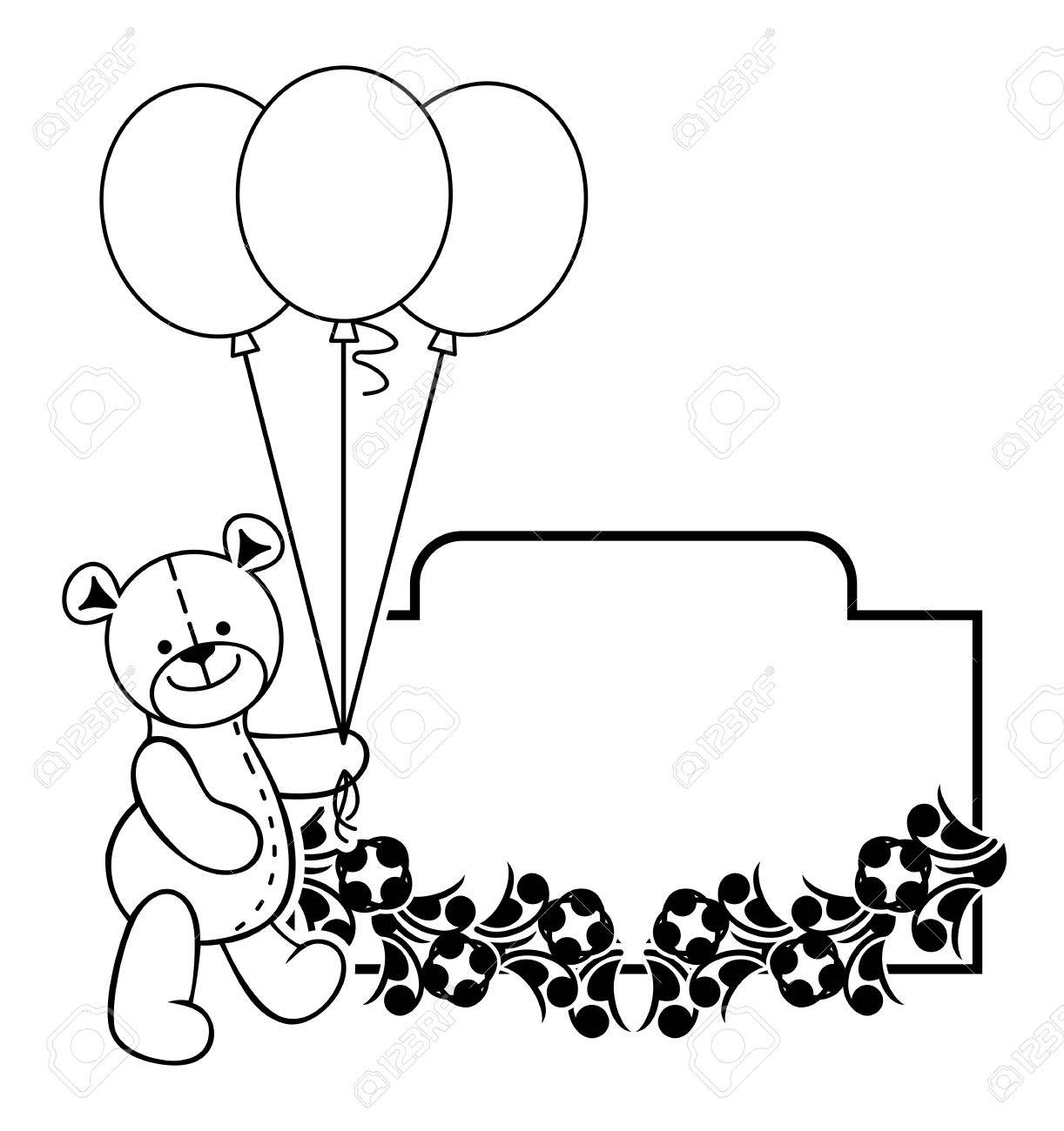 hight resolution of black and white frame with teddy bear plush toy vector clip art stock vector