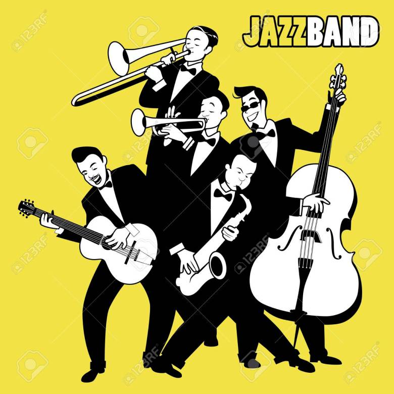 jazz band. five jazz players playing jazz music. cartoon style