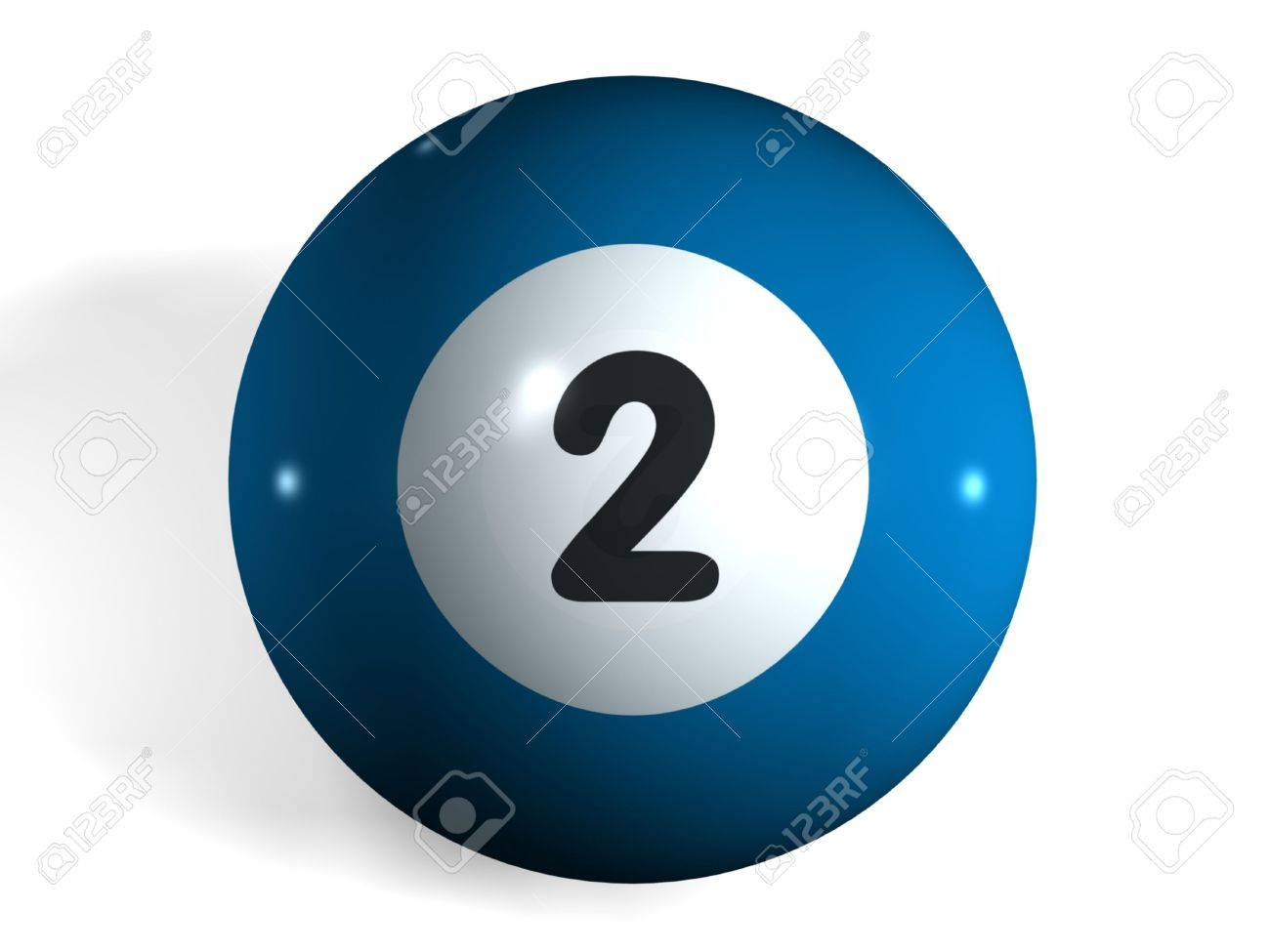 isolated 3d pool ball number 2 stock photo, picture and royalty