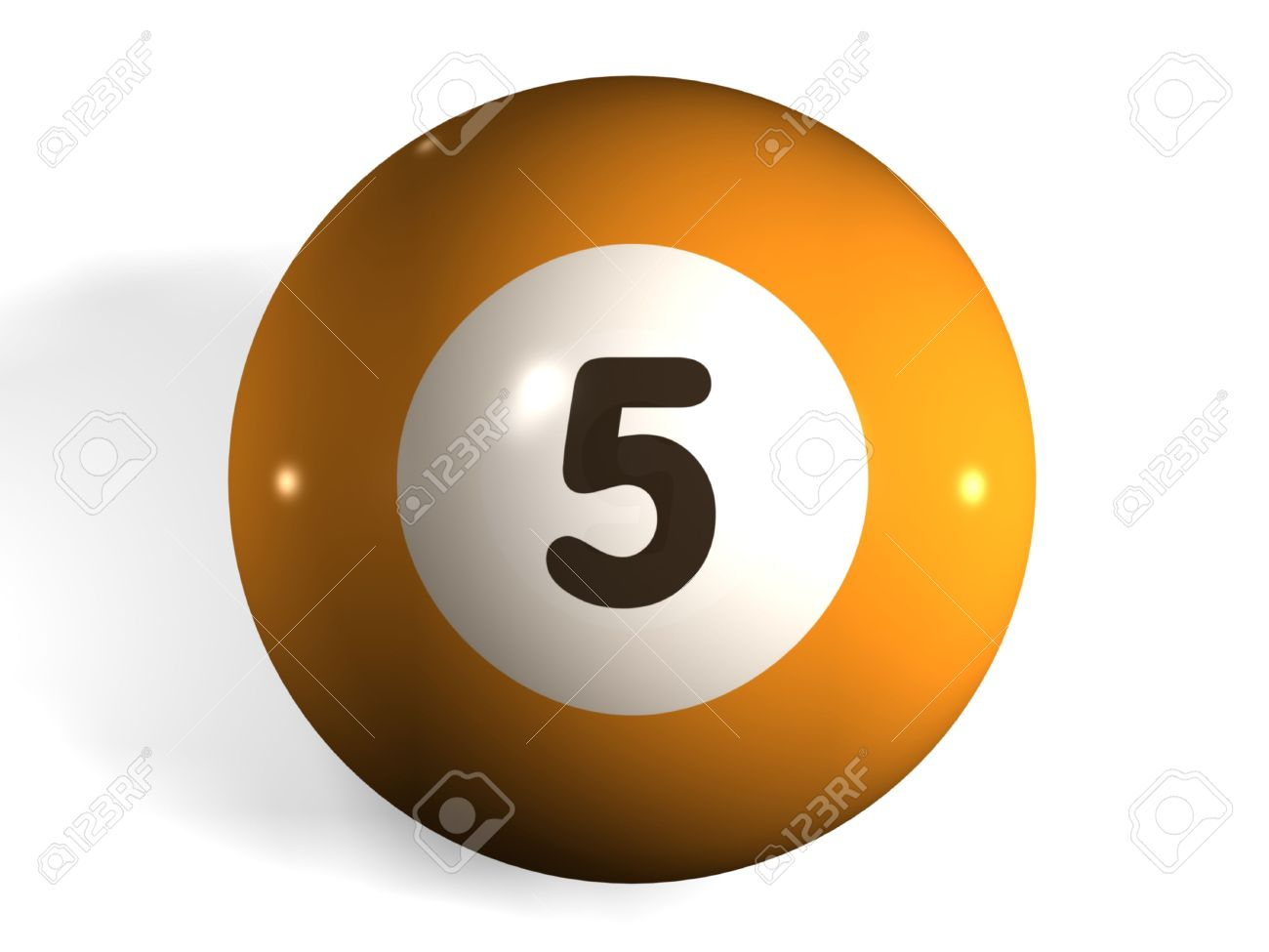 isolated 3d pool ball number 5 stock photo, picture and royalty