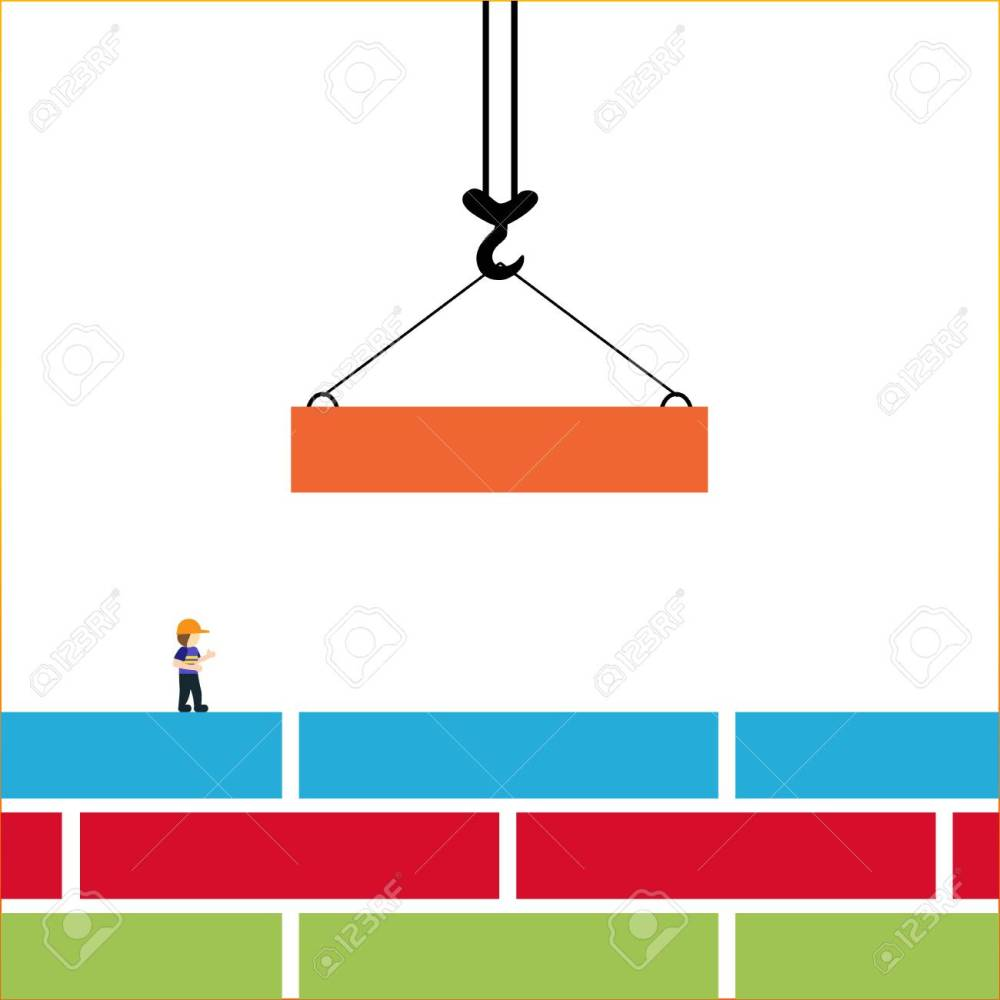 medium resolution of bright vector illustration on the theme of building the crane hook lowers down the orange