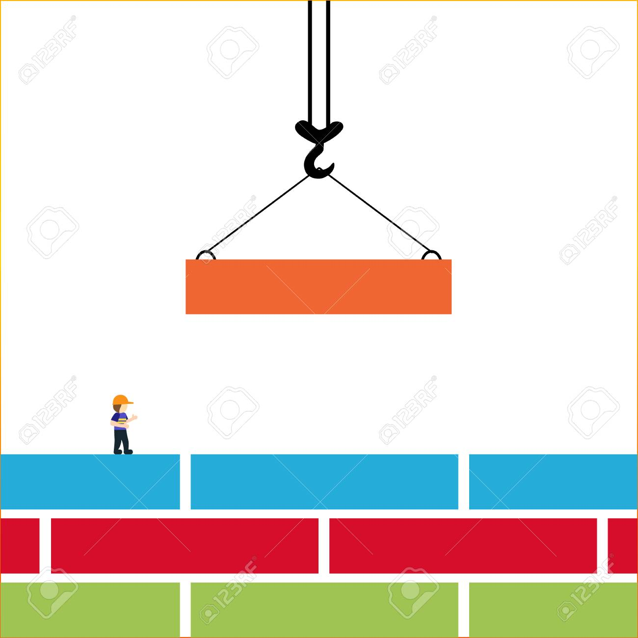 hight resolution of bright vector illustration on the theme of building the crane hook lowers down the orange