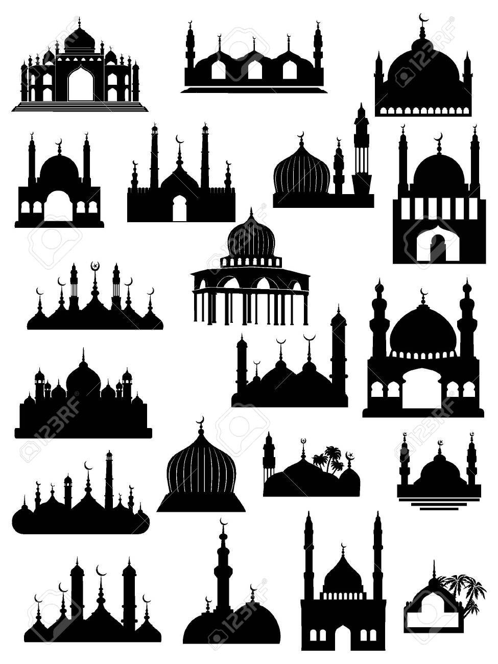Mosque Silhouette Vector : mosque, silhouette, vector, Black, White, Silhouette, Traditional, Muslim, Mosque, And.., Royalty, Cliparts,, Vectors,, Stock, Illustration., Image, 135443770.