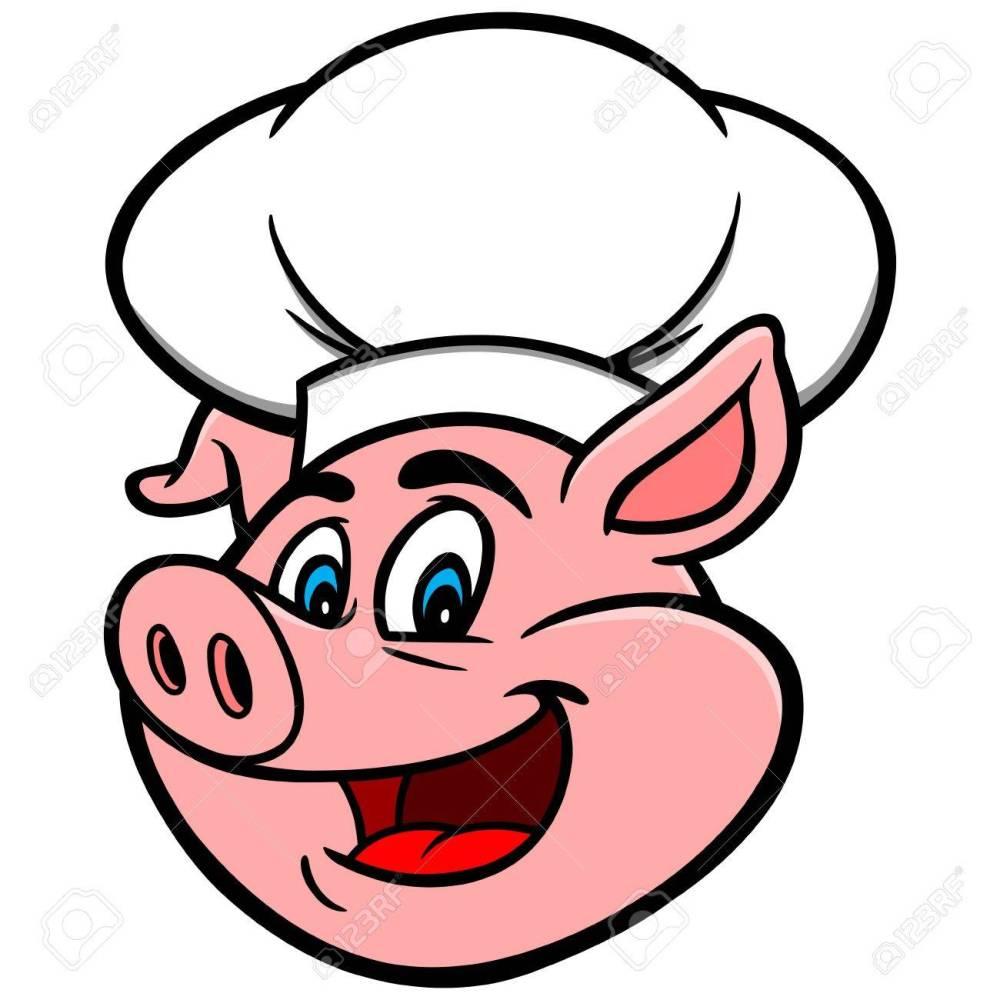 medium resolution of pig with chef hat