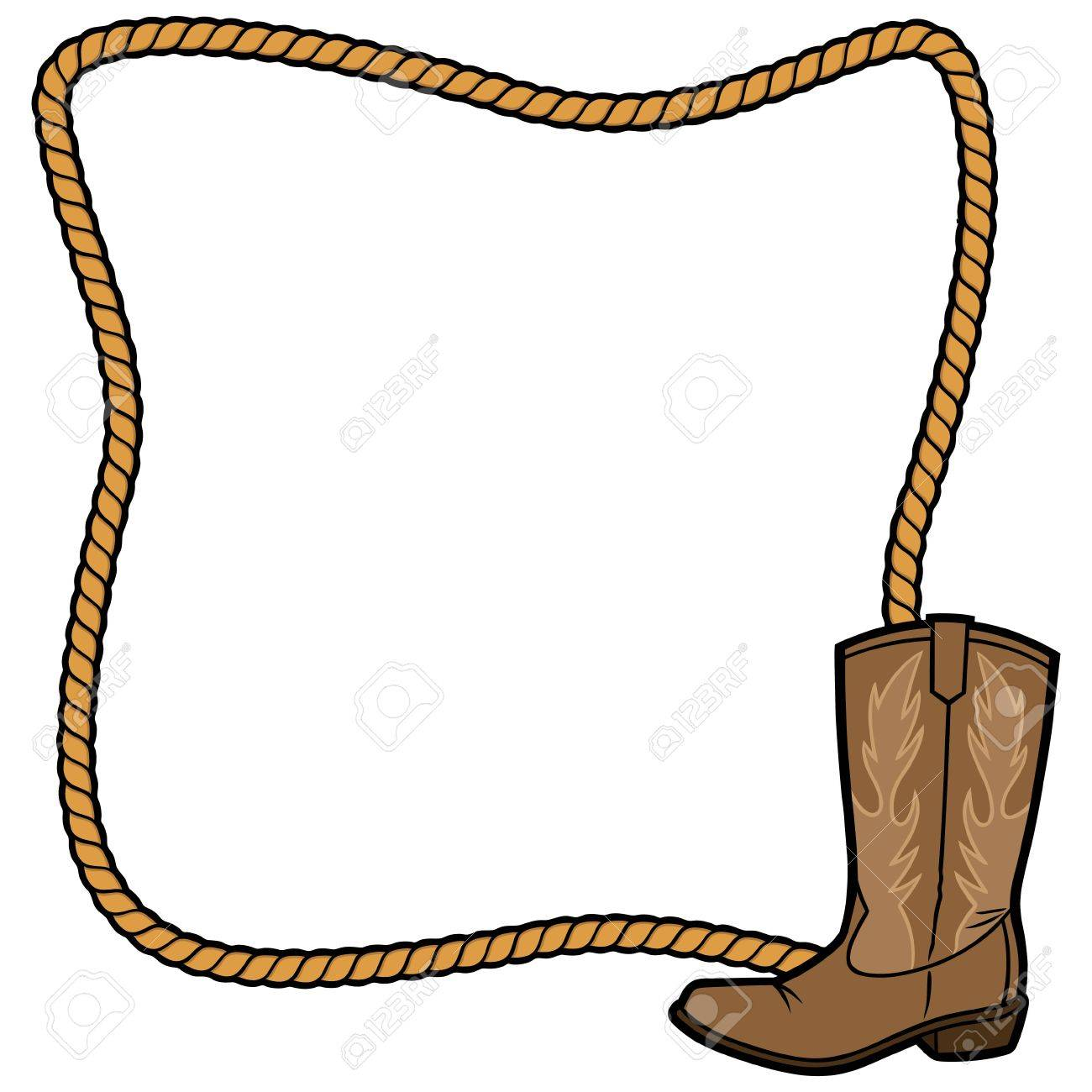 hight resolution of rope frame and cowboy boot stock vector 57875023