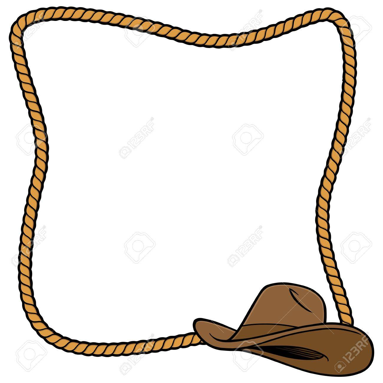 hight resolution of rope frame and cowboy hat stock vector 57875022