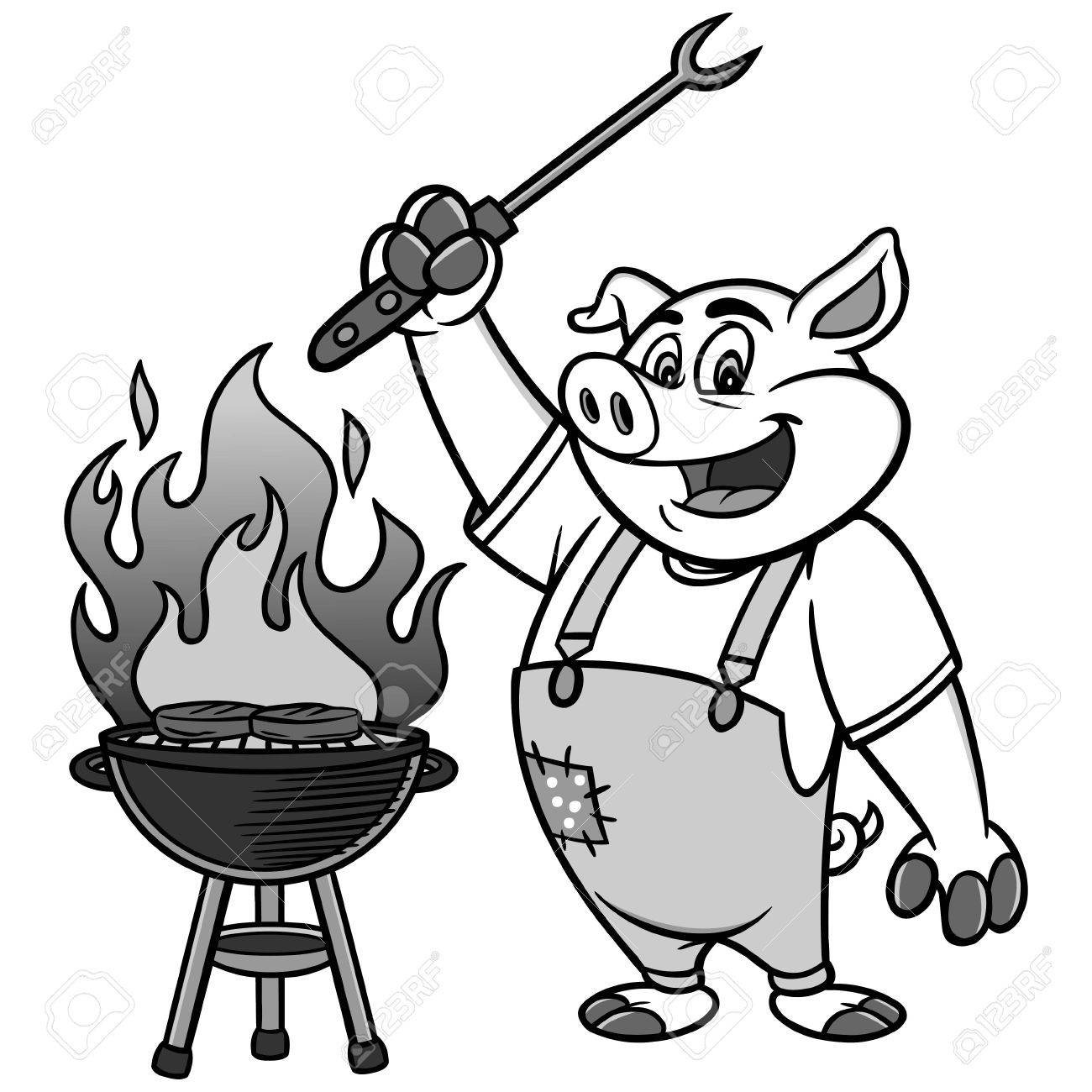 hight resolution of bbq grilling pig illustration stock vector 84578986