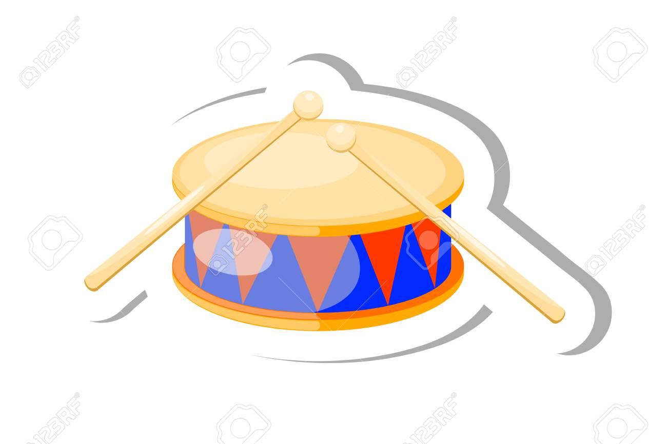 couleur vecteur tambour instrument de musique de dessin anime sur fond blanc illustration vectorielle stock