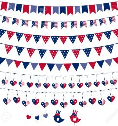 american flag themed bunting set stock vector 13110003 [ 1300 x 1300 Pixel ]