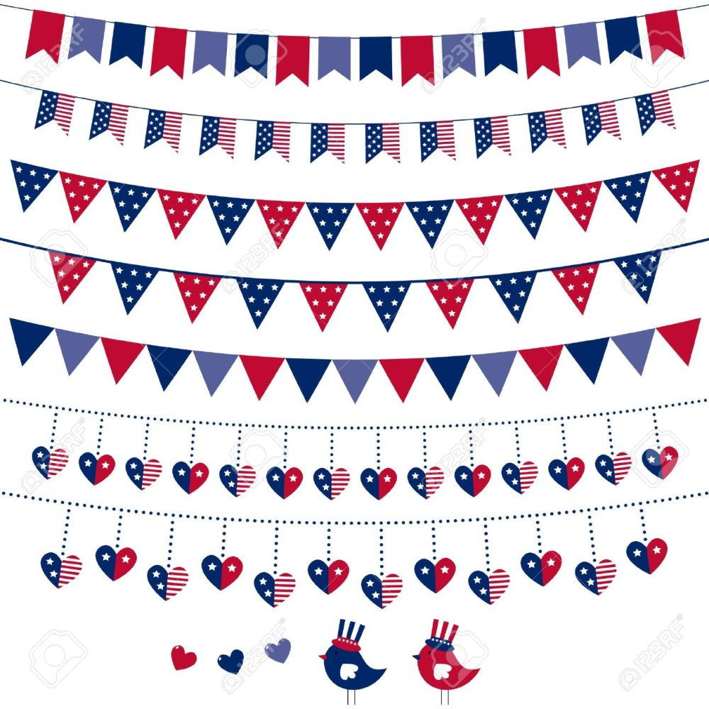 medium resolution of american flag themed bunting set stock vector 13110003