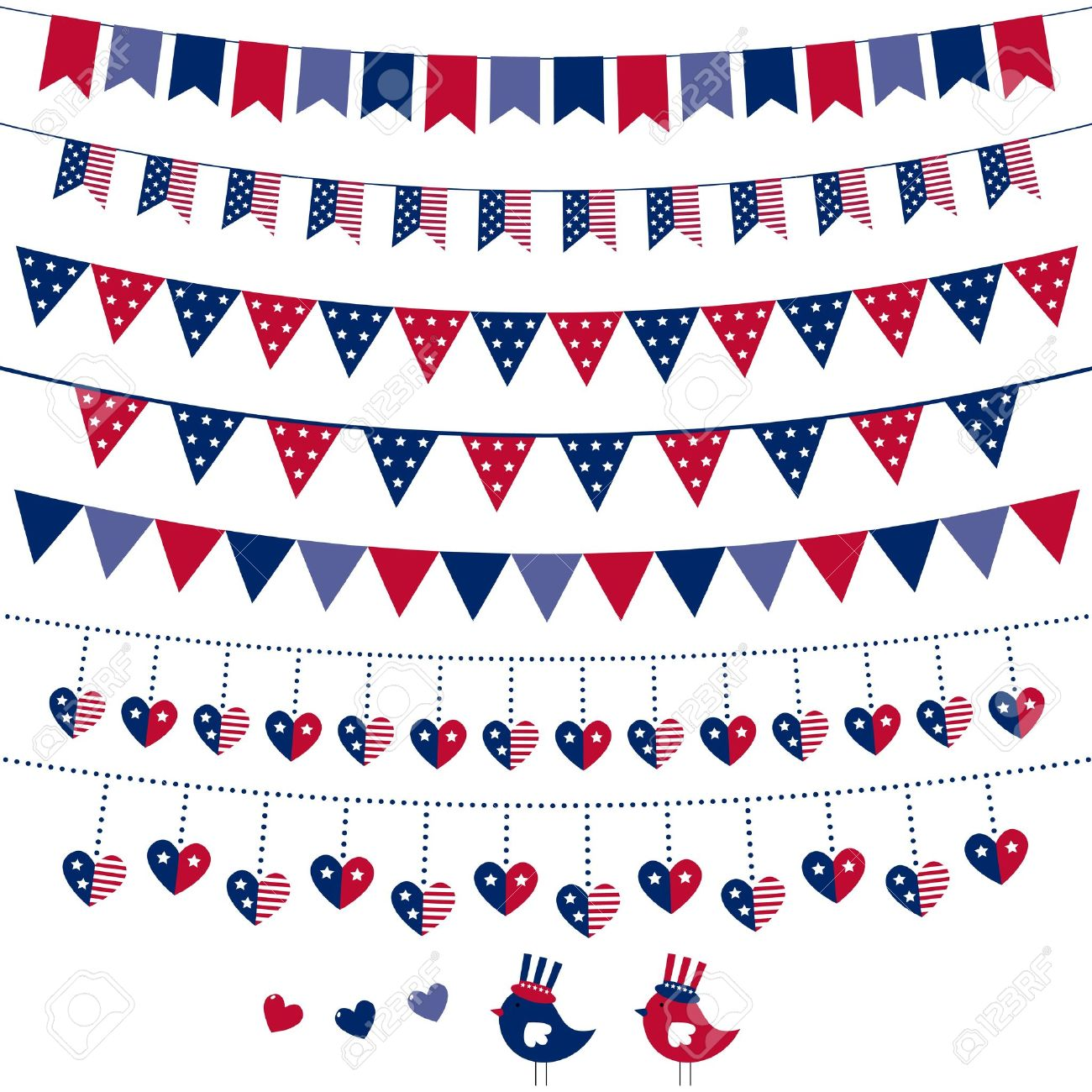 hight resolution of american flag themed bunting set stock vector 13110003