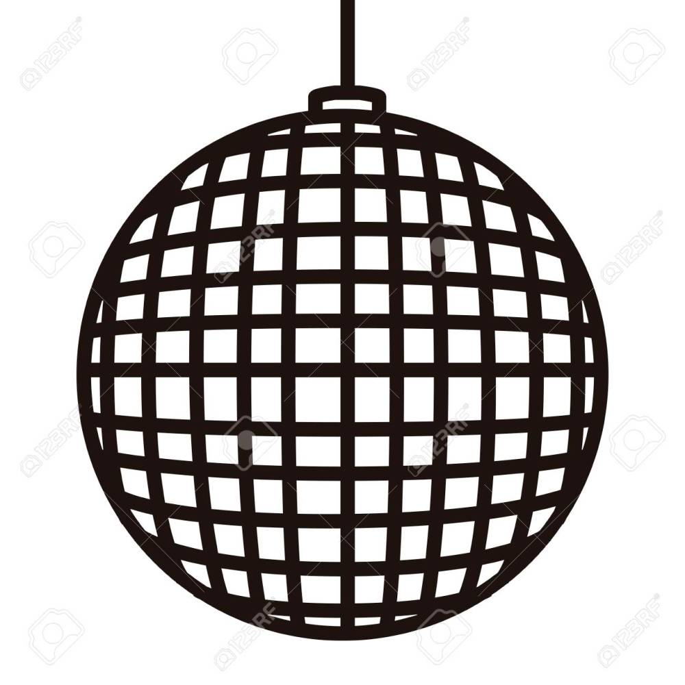 medium resolution of disco ball icon in black and white illustration stock vector 93795734