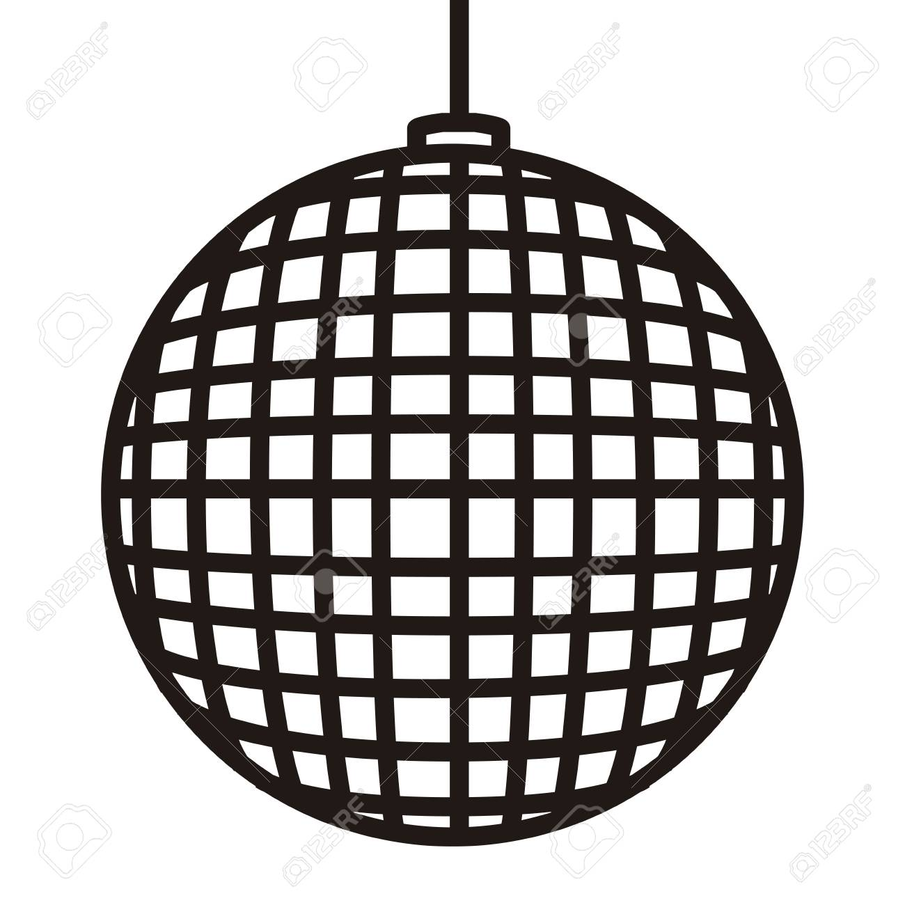 hight resolution of disco ball icon in black and white illustration stock vector 93795734