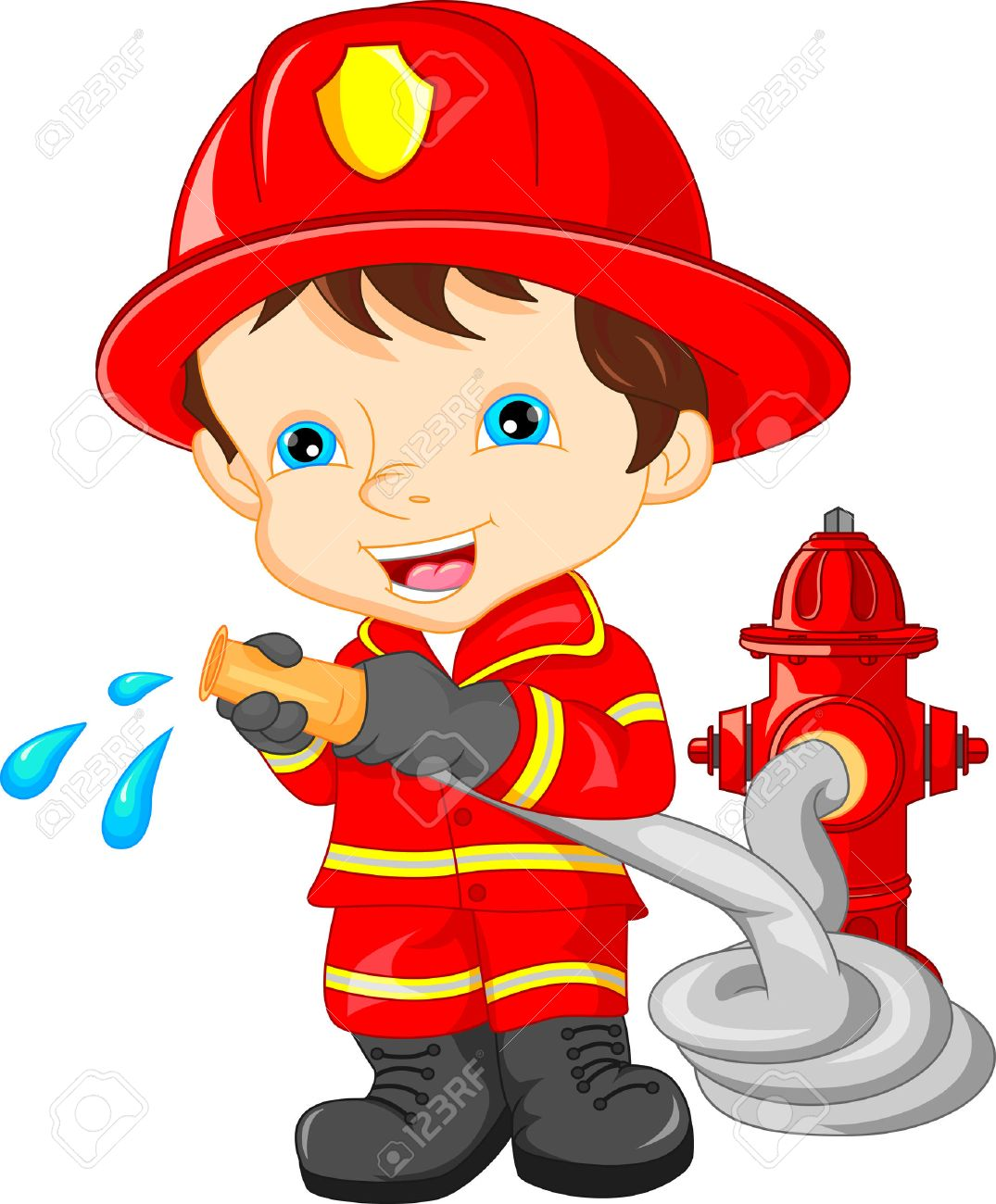 young boy wearing firefighter