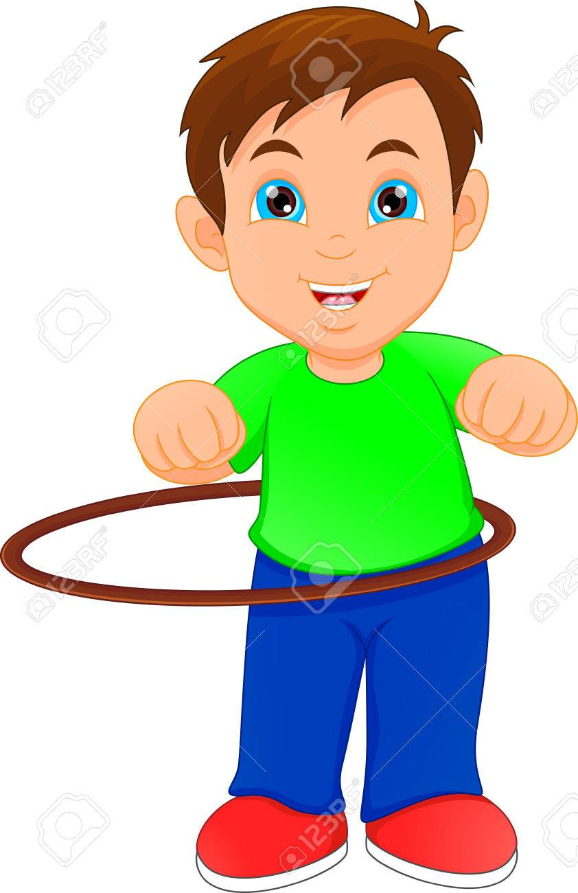 hight resolution of boy playing with hula hoop stock vector 80905850