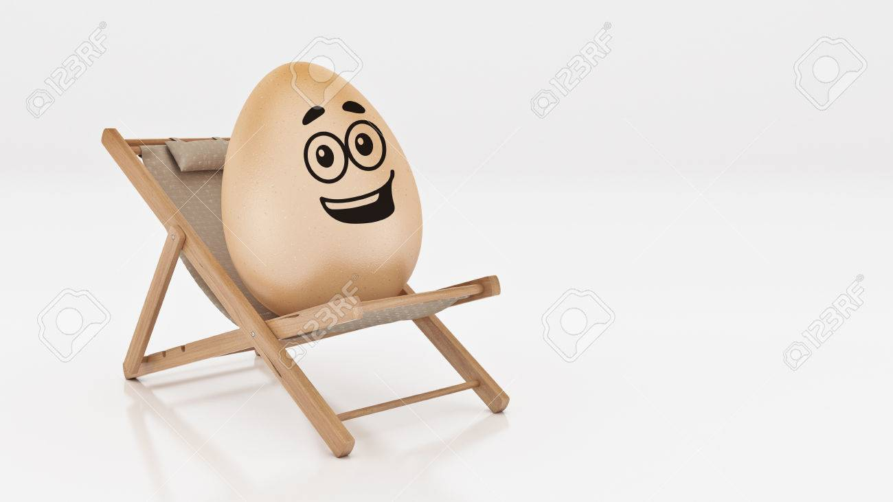 lay down beach chairs folding chair trolley egg with on summer isolated white abstract background for easter