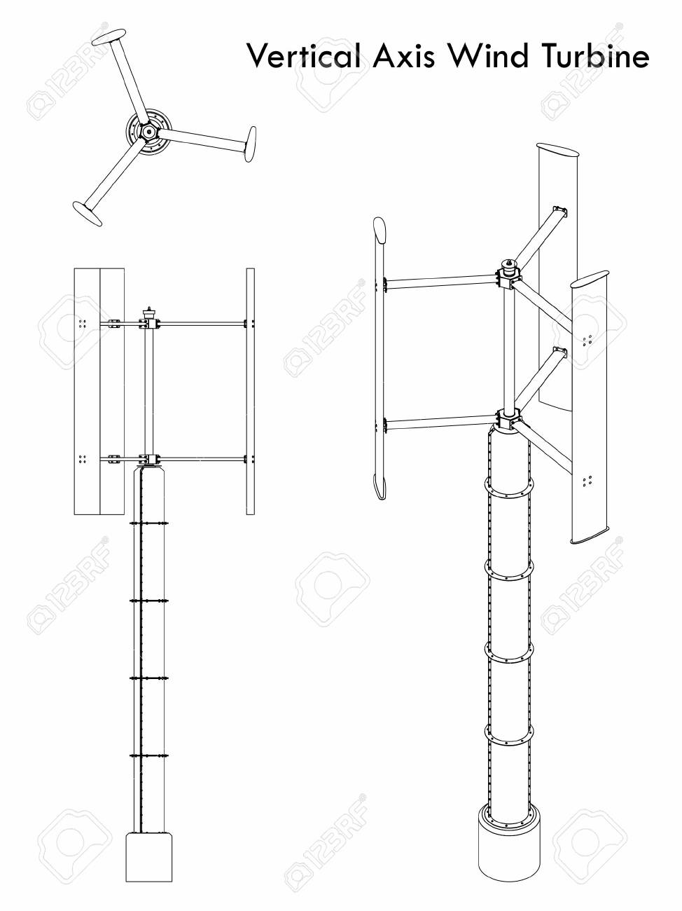 hight resolution of vector vertical axis wind turbine outline only