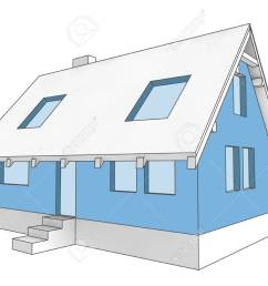 illustration isolated diagram icon building facade of house colored in blue illustration [ 1300 x 975 Pixel ]