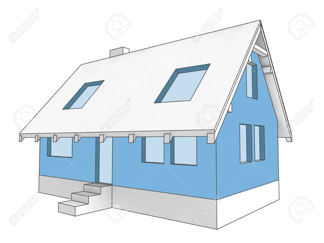 hight resolution of illustration isolated diagram icon building facade of house colored in blue illustration