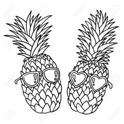 Pineapples Wearing Sunglasses Black Outline On White Background Royalty Free Cliparts Vectors And Stock Illustration Image 125053571
