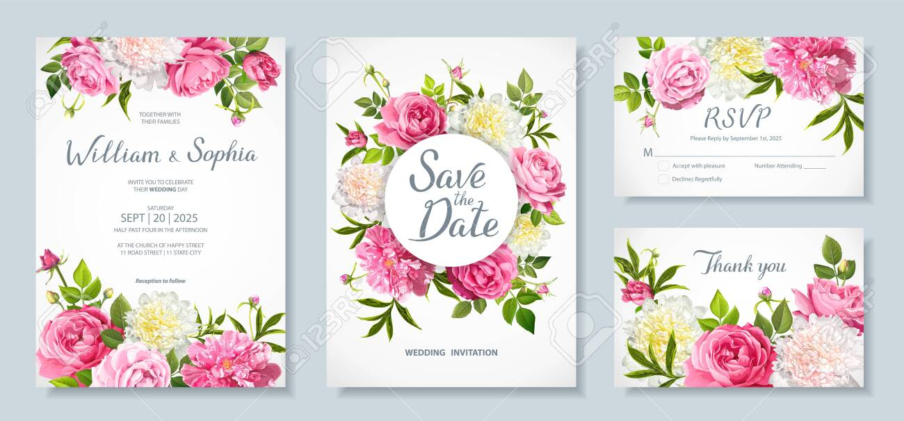 wedding invitation card template floral design with blooming