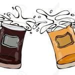 Two Beer Mugs With Light And Dark Beer Clink With Splash Realistic Royalty Free Cliparts Vectors And Stock Illustration Image 79887953