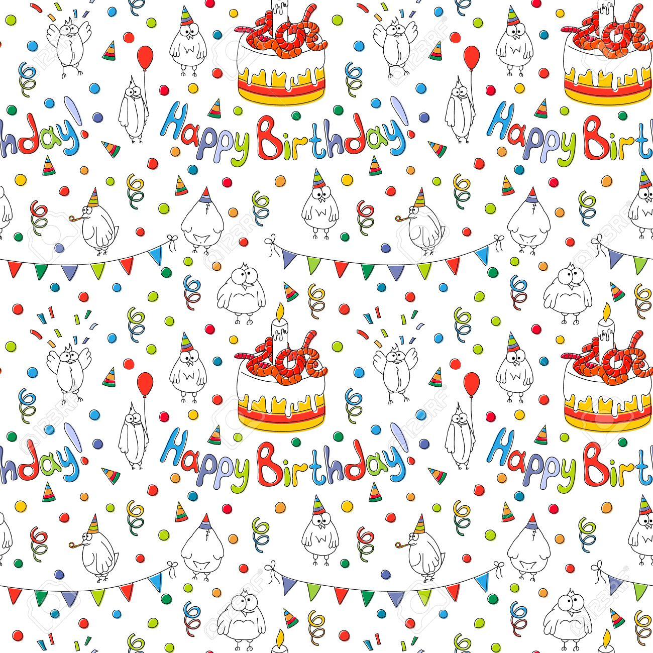 Alles Gute Zum Geburtstagskarte Cartoon Lustige Vogel An Einer