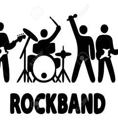 rock band bassist drummer vocalist and guitar player icons simple vector illustration [ 1300 x 1017 Pixel ]