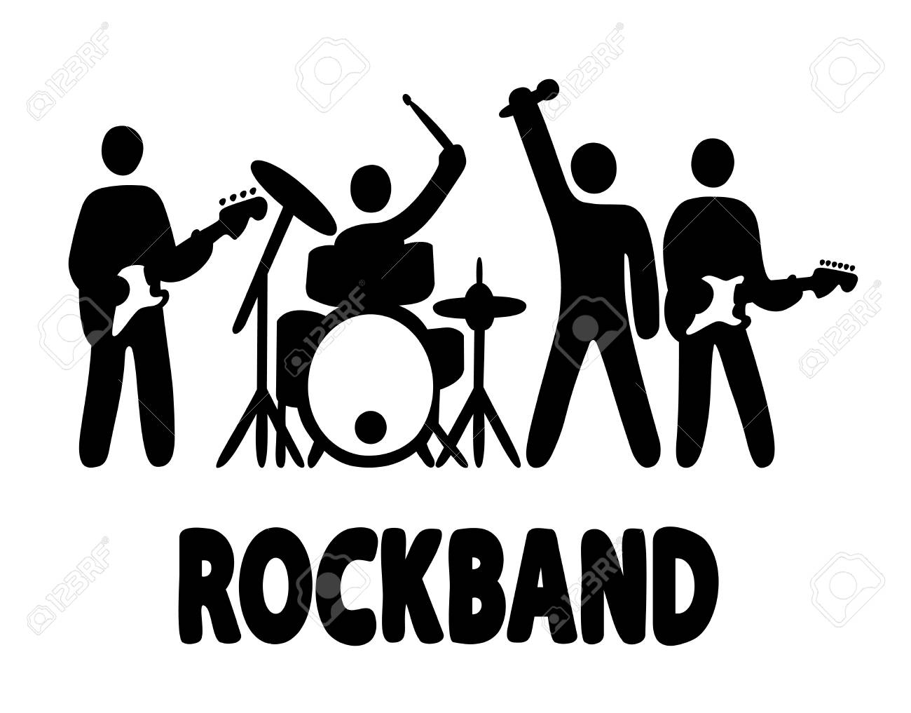 hight resolution of rock band bassist drummer vocalist and guitar player icons simple vector illustration