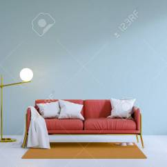 Red Sofa White Living Room Modern Chairs Canada Loft And Vintage Interior Of With Gold Lamp On