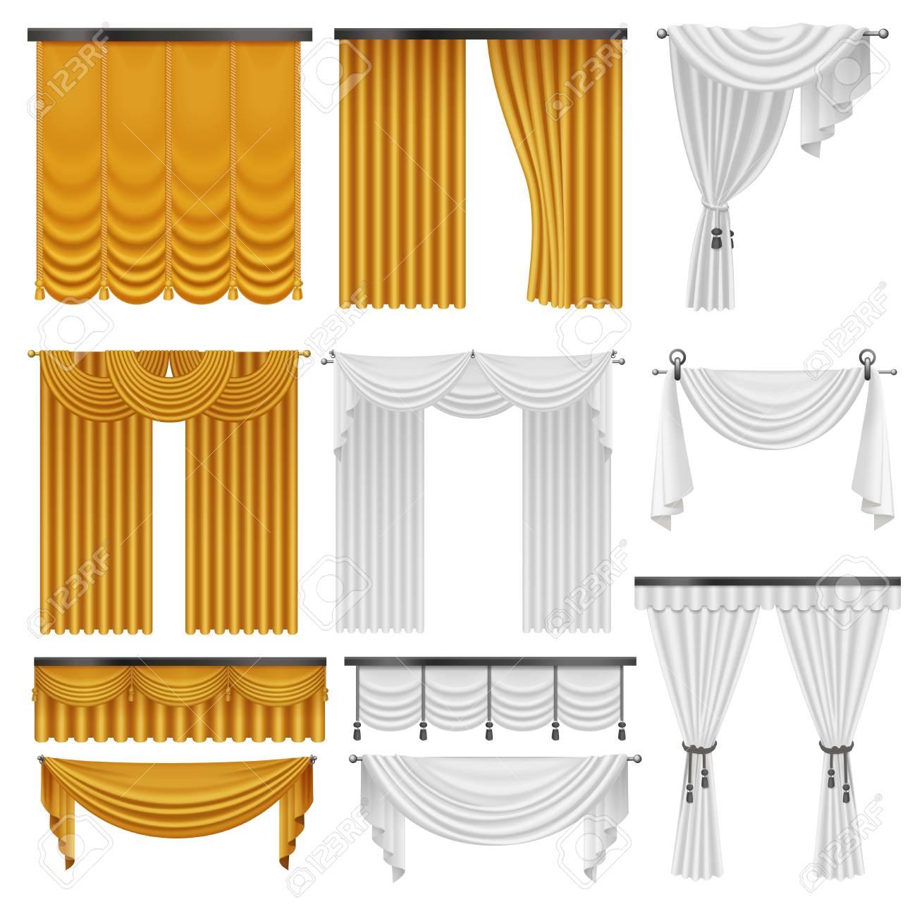 ensemble de rideaux et draperies en velours de soie or et blanc conception de decoration de rideaux de luxe realiste interieur