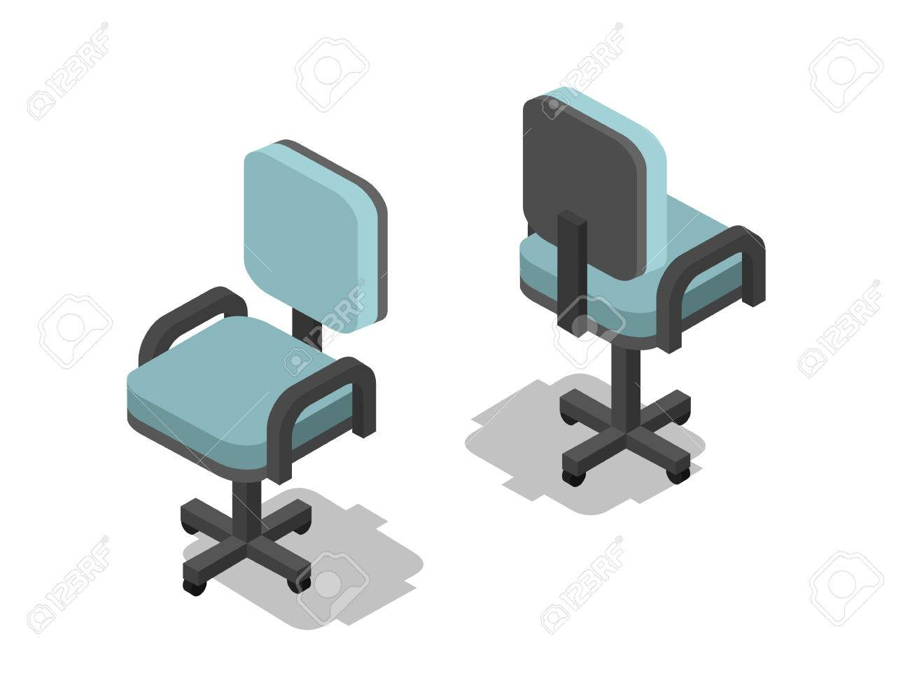 office chair illustration pads for bottom of legs vector isometric 3d flat furniture icon interior design info graphics and games