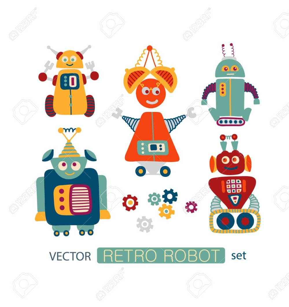 medium resolution of colorful vector clipart set with cute retro robots stock vector 72992302