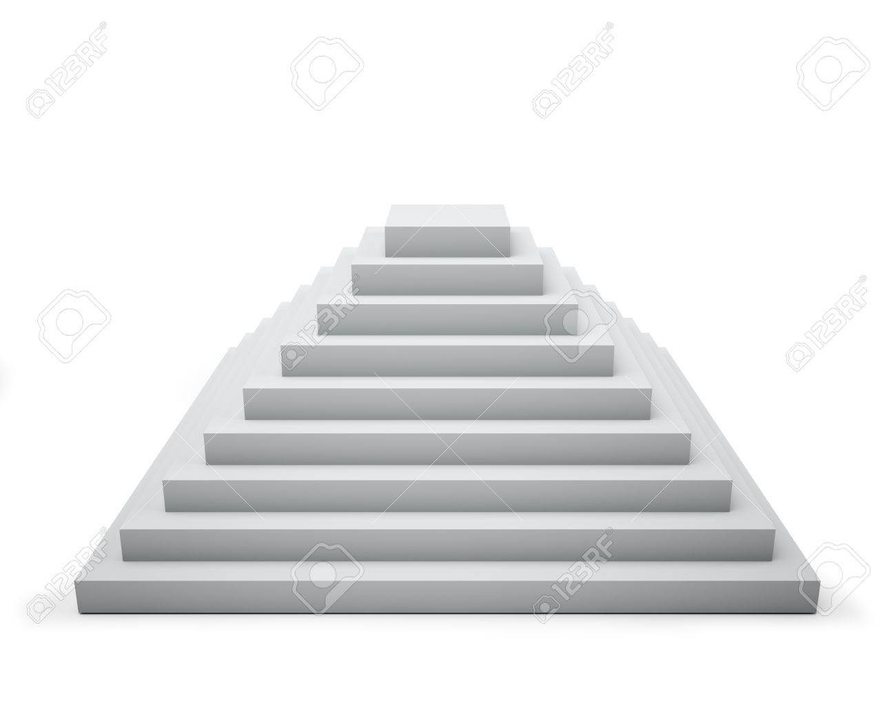 hight resolution of 3d white step pyramid isolated on white background stock photo 19527454