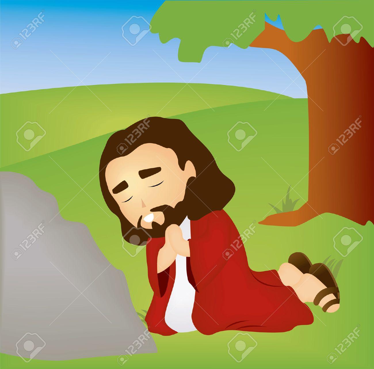 hight resolution of bible stories jesus praying in the garden stock vector 1998540