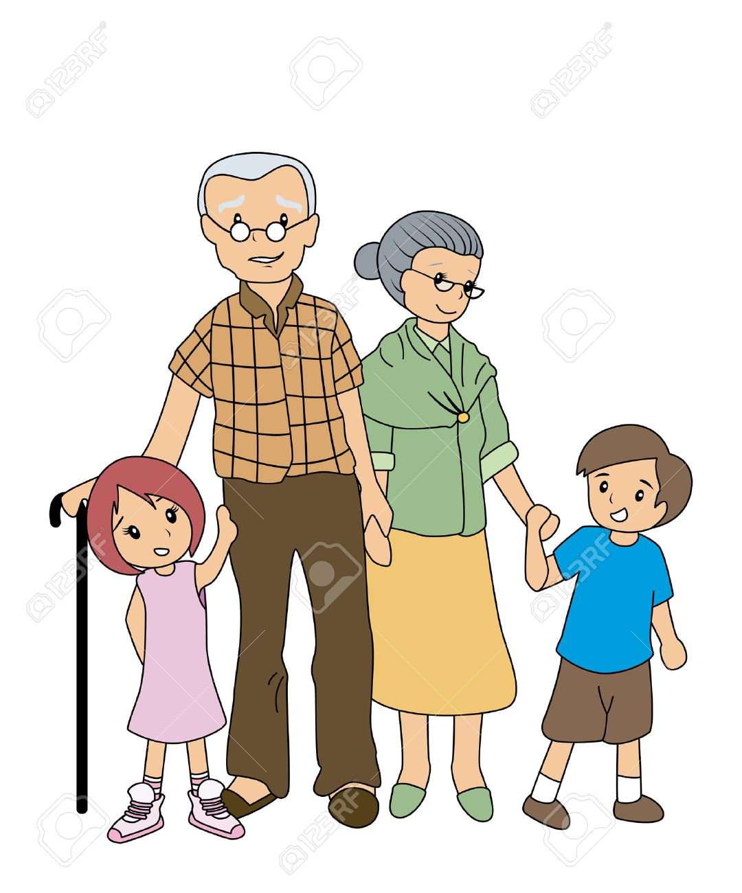 hight resolution of children with grandparents stock vector 2649533