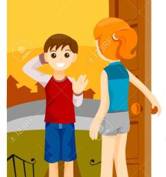 boy visiting friend with clipping path stock vector 4127737 [ 776 x 1300 Pixel ]