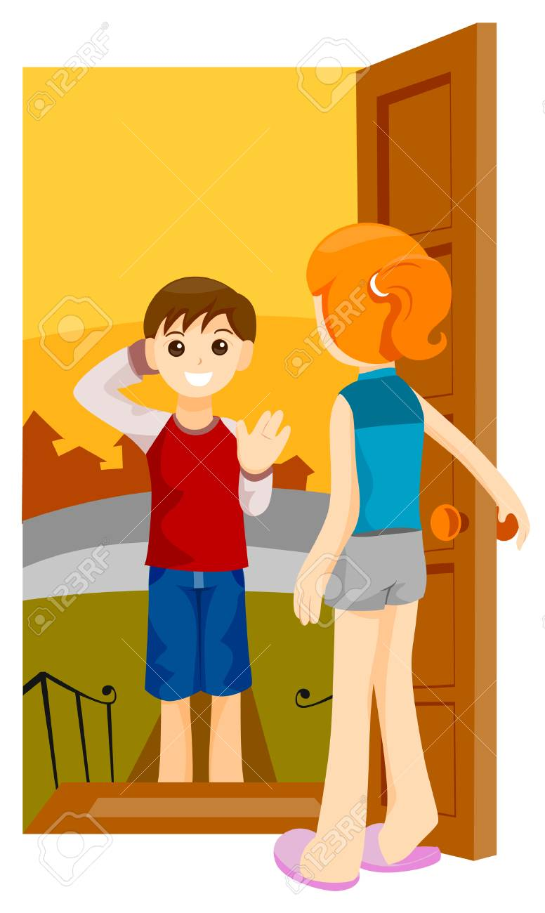 medium resolution of boy visiting friend with clipping path stock vector 4127737