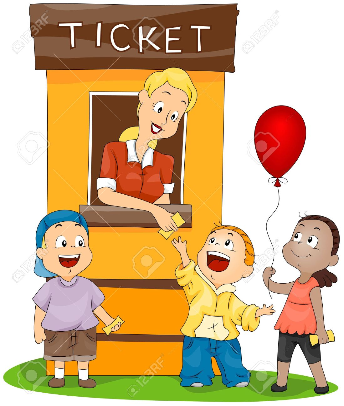 hight resolution of children at the ticket booth