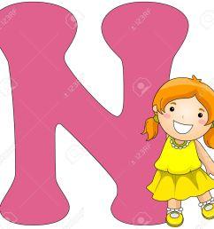 illustration illustration of a girl posing beside a letter n [ 1300 x 1249 Pixel ]