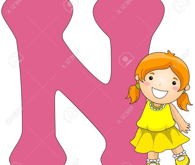Illustration Illustration Of A Girl Posing Beside A Letter N