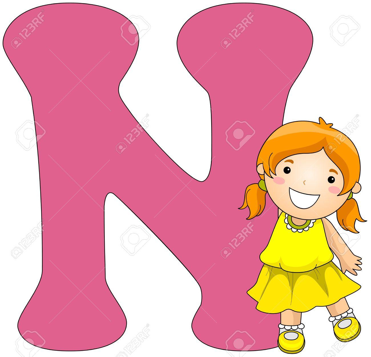 hight resolution of illustration illustration of a girl posing beside a letter n