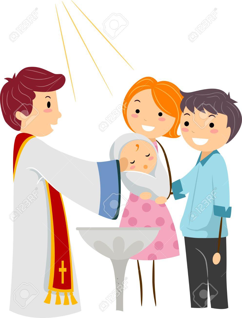 hight resolution of illustration illustration of a priest baptizing a child