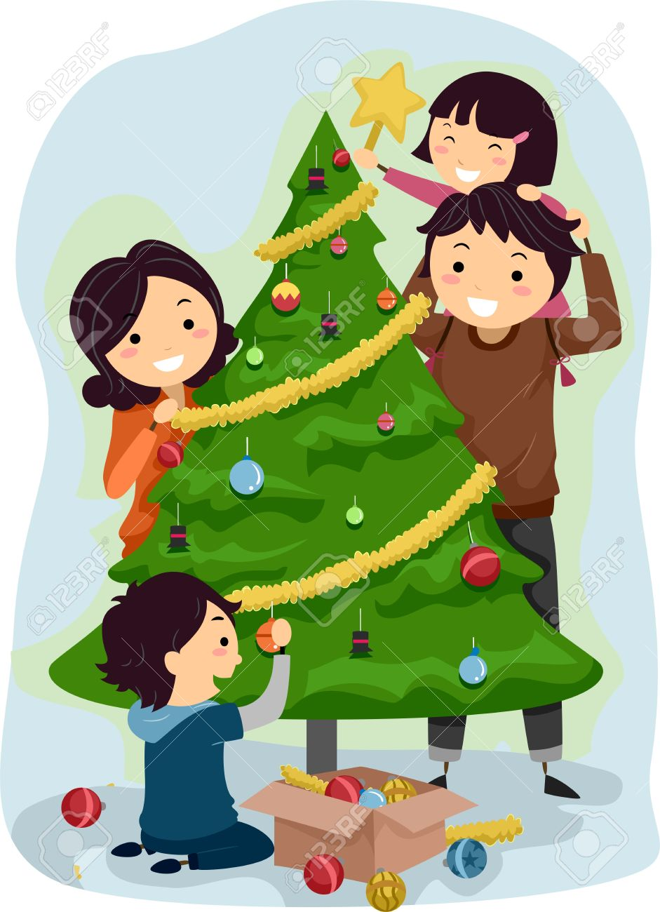 Family Decorating Christmas Tree Clipart