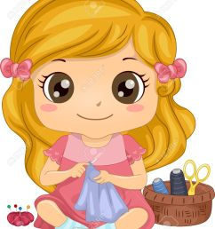 illustration of a cute little girl sewing a piece of fabric stock vector 29570966 [ 1078 x 1300 Pixel ]
