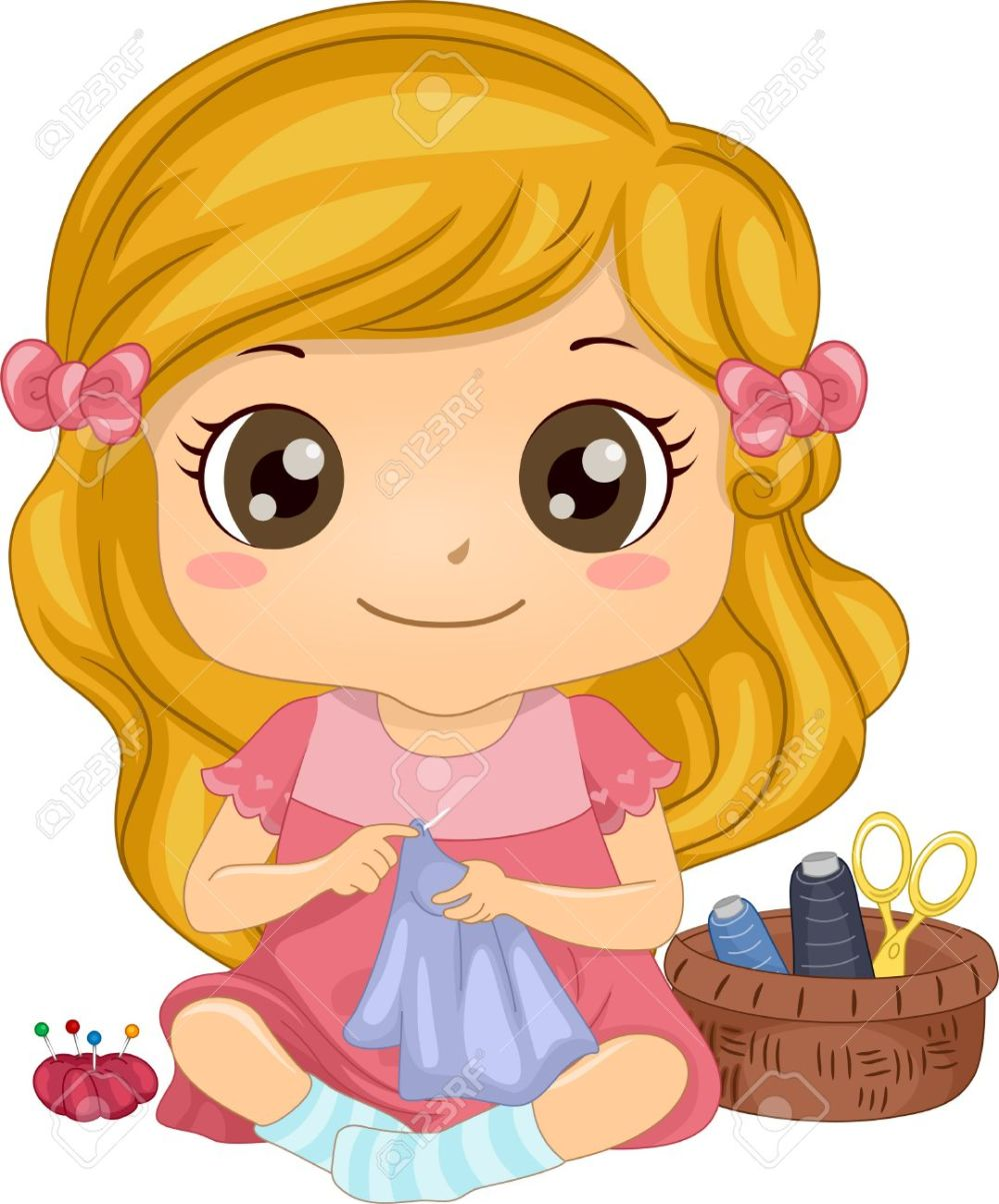 medium resolution of illustration of a cute little girl sewing a piece of fabric stock vector 29570966