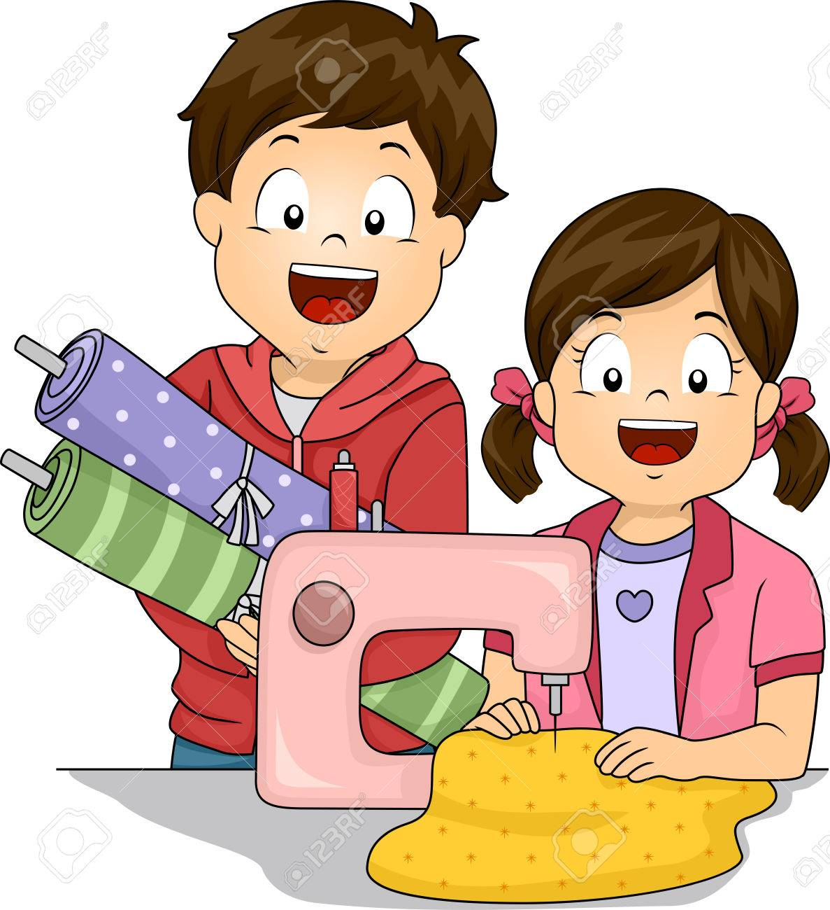 hight resolution of illustration featuring little kids learning how to sew stock vector 30333339