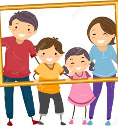 illustration featuring a happy family holding a hollow frame stock vector 31689328 [ 1300 x 1236 Pixel ]