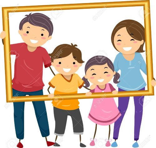 small resolution of illustration featuring a happy family holding a hollow frame stock vector 31689328