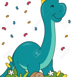 illustration featuring a brontosaurus wearing a birthday hat stock vector 32405853 [ 920 x 1300 Pixel ]
